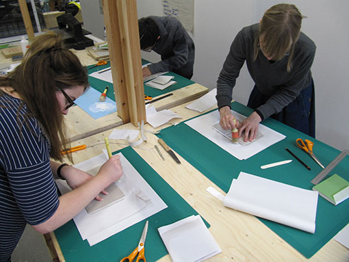 Students in the bookbinding studio