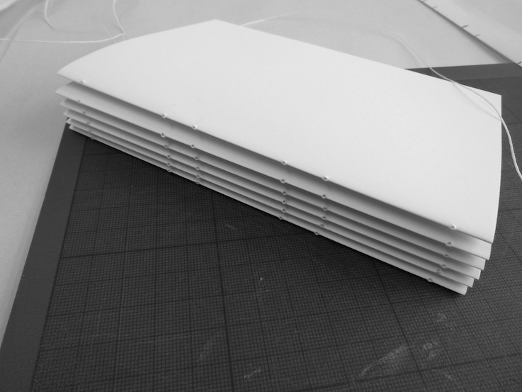 Photo of folded pages, ready for sewing.