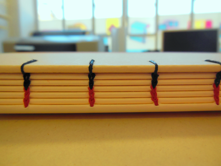 Spine of a book sewn in Coptic stitch